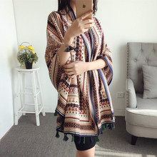 SF17210033 Bohemian design long print scarf 2018 women autumn winter boho hippie scarf muffler cape shawl wrap