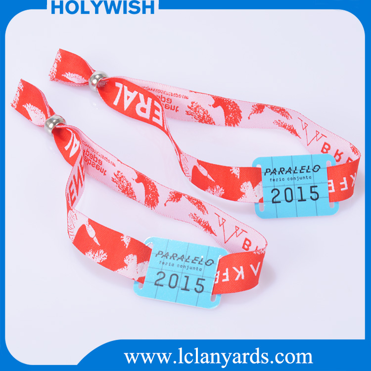 One time use fabric woven logo custom id wristbands for club