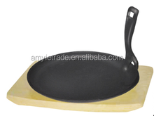 cast iron sizzler with wooden base, cast iron sizzling steak plate, cast iron sizzler platter with detachable handle, Fajita