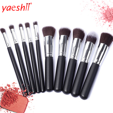 yaeshii New Makeup <strong>brushes</strong> 10pcs Kabuki Customized Logo <strong>Brush</strong> Set