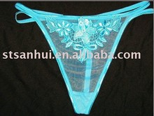 Sexy women embroidery g-string lady transparent panties models