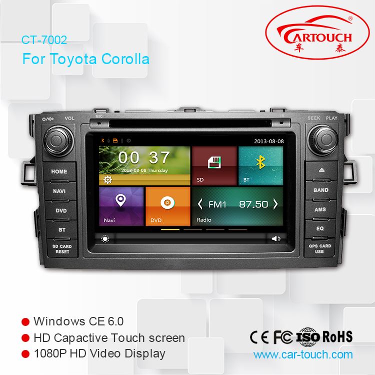 7 inch dual core wince car dvd radio stereo GPS multimedia entertainment system for Toyota Corolla 2007 built-in WIFI mirro link