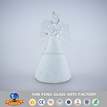 Factory handmade glass angle ornament with clear wings