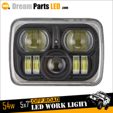 54w led driving light 5x7 inch square led headlamp sealed beam for car offroad truck