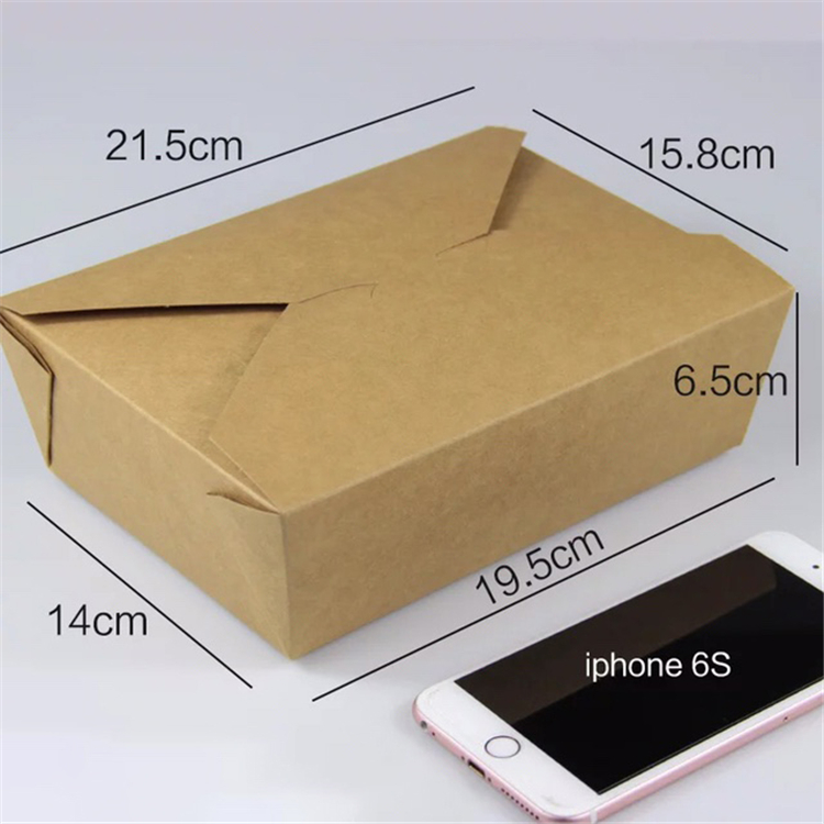 Disposable kraft paper food container box