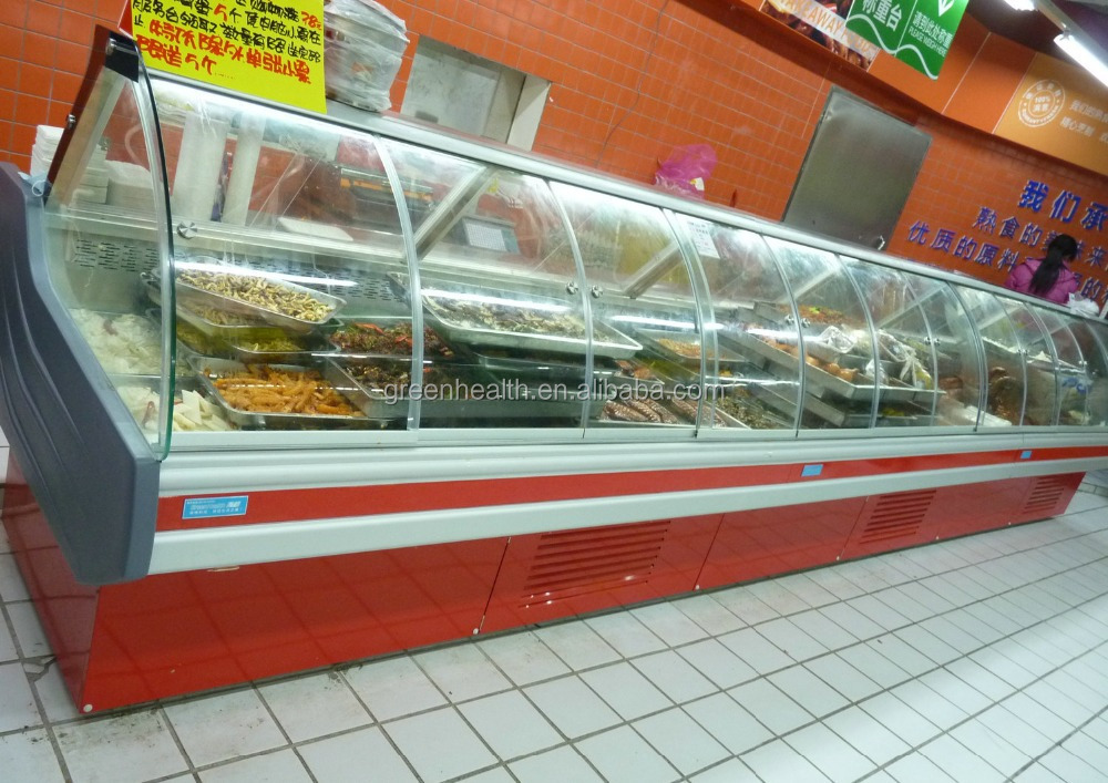 Commercial used meat display supermarket refrigerator / countertop hot food display case