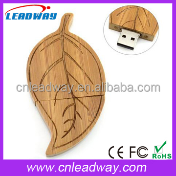 Low cost gift item bamboo or wooden leaf shaped usb flash drive 512MB