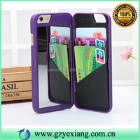 High Quality Cell Phone Mirror Case With Card Holder For Iphone 6 Hard Back Cover