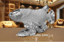 China style fengshui design big electroplated silver fish resin decoration ornament resin crafts