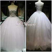 Sweetheart Pearl Beaded Luxury Rhinestond Floor-Length With Small Train Ball Gown Wedding Dress For 2016