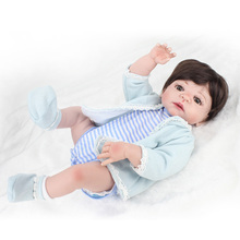 Cute Soft Silicone 22 Inch Reborn Baby Doll Kids