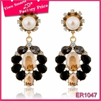 Europe style high quality luxury black diamond chandelier dangler earrings for bridal faux pearl necklace earrings set