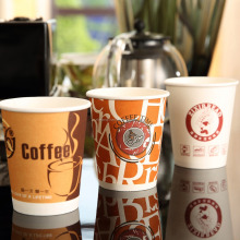 Chaofan Logo Printed Disposable Double Wall Paper Coffee Cups For Hot Drink