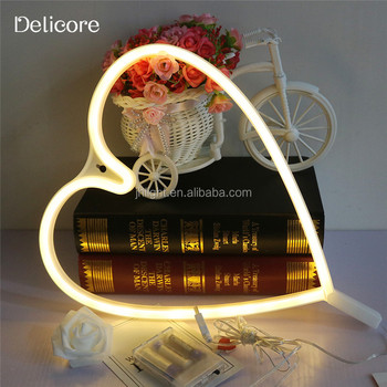 2017 New Design Battery Operated Love Heart Neon Light With USB Powered Best For Christmas Party Hoom Decoration