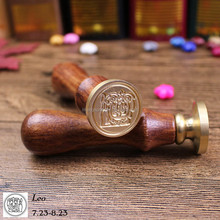 wax seal deluxe set, Sealing wax stamp, 12 constellation Wooden packaging Seal copper Stamp Decorative 12 star signs Gift