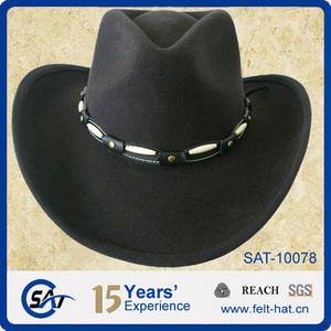 35abba1e3c8 fashion 100% wool felt men black cowboy hat