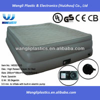 New fashion inflatable bed ripple surface flocked 3 layer air bed