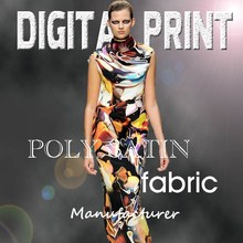 customized digital print polyester satin fabric for clothing -M
