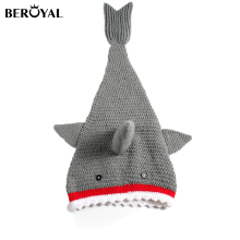 Beroyal Shark-Shaped 100% Cotton Hand Crochet Baby Blanket