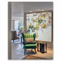 Original art large landscape abstract flower oil painting on canvas
