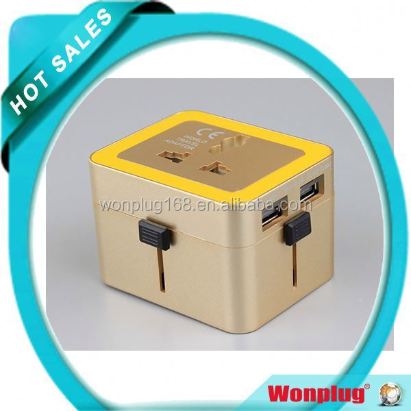 2015 New Wonplug Patent Fashion Type 2.4A High Quality 4 in 1 universal travel adapter plug