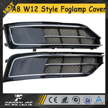 W12 Style Car Front Fog Light Lamp Cover For Audi A8