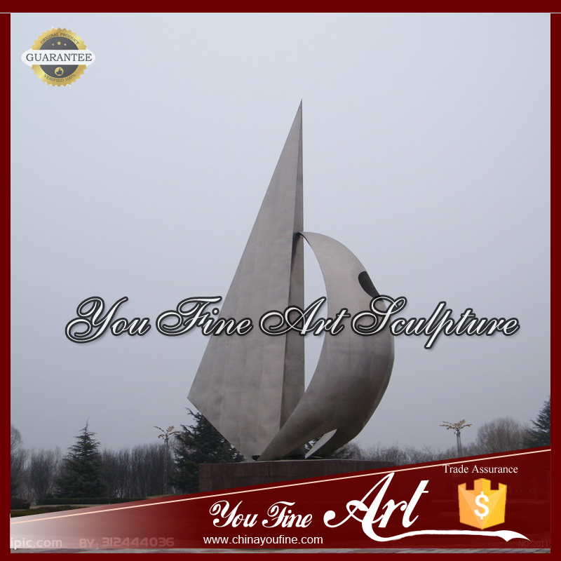 Outdoor Landscape Sailing Boat Stainless Steel Sculpture