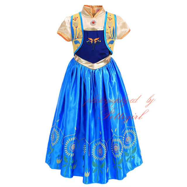 GD50325-01 Summer Anna Dress Girls Elsa Dresses Cosplay Costume With Sunflower