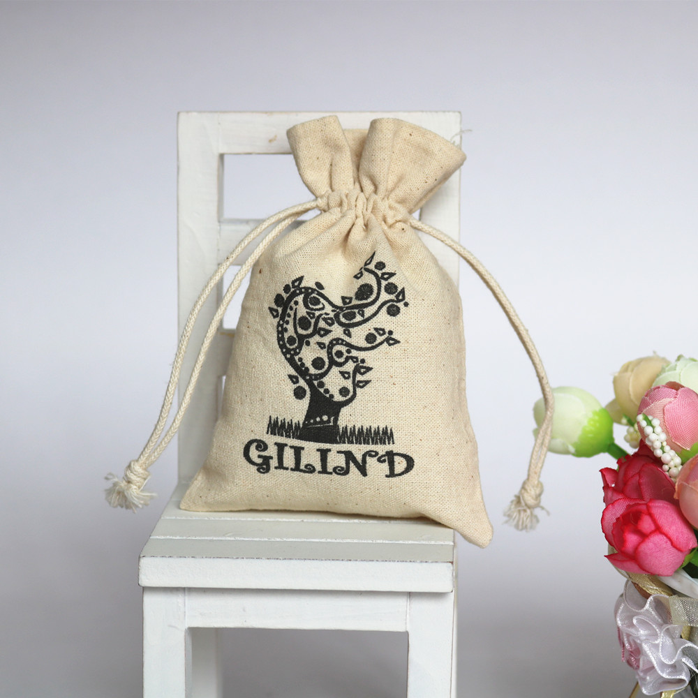 Natural White Bangkok Sling Cotton Eco Gift Bag With Company Name