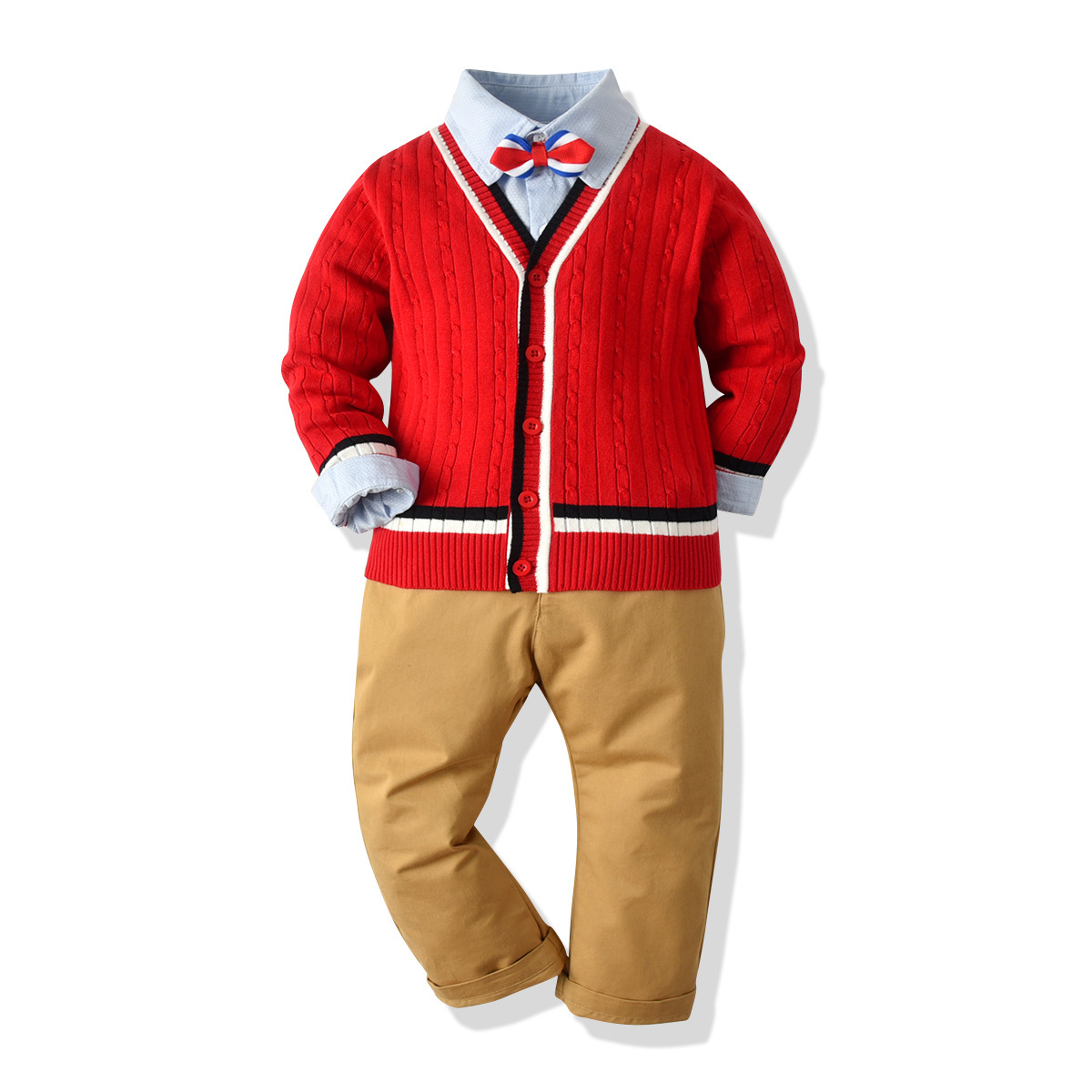 2019 autumn children clothes new design red sweater casual sets wholesale baby boys clothes