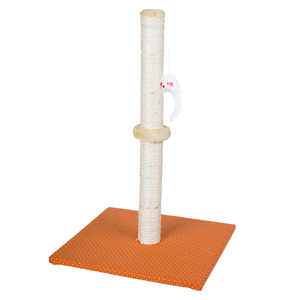 beige orange sofa fabric pole cat tree with playing mouse toy