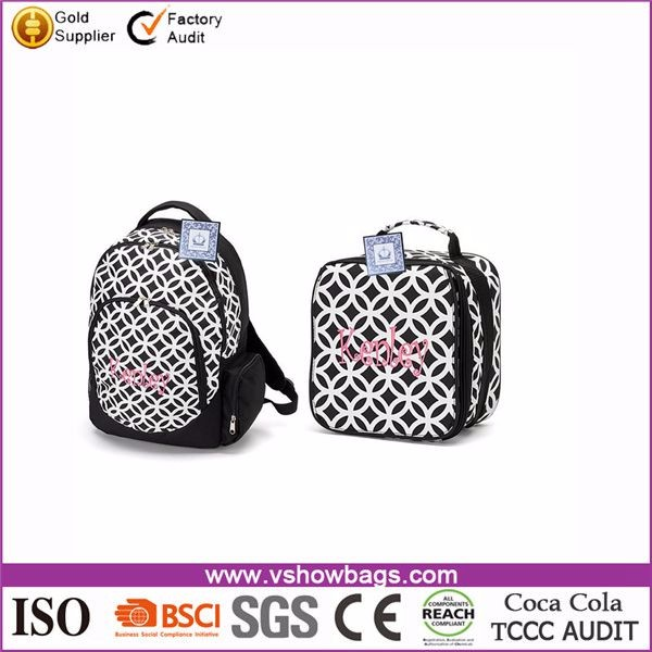 Wholesale 16 inch school Backpack and Insulated Lunch Bag Set for kids