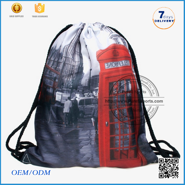 2016 gym bag Best Selling High Qualilty Waterproof Backpack Nylon drawstring Bag cord end