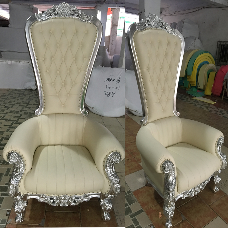 Classic Resin Fiber Glass PU/ Velvet Cover High Back King Chairs on Sale, Foshan Factory Directly Supply Wholesale Throne Chair
