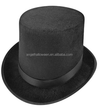 Charm Black Victorian Mad Hatter Top Hat,Felt Bowler Derby,Performing cap TH2336