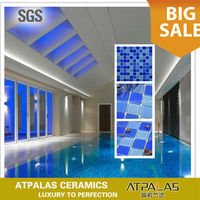 Glass mosaic tiles for the swimming pool