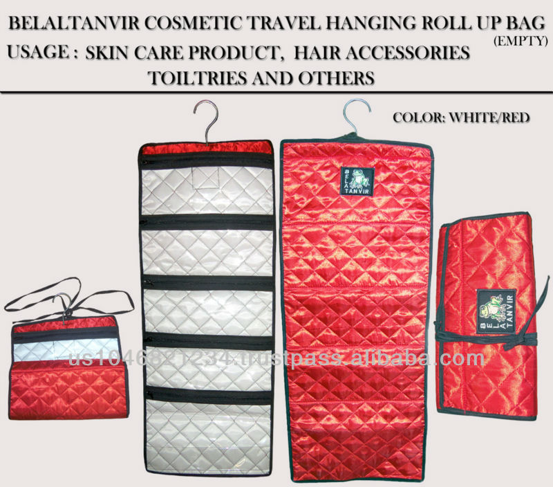 Travel Roll up cosmetics Bag Red Ployester Satin Fabric