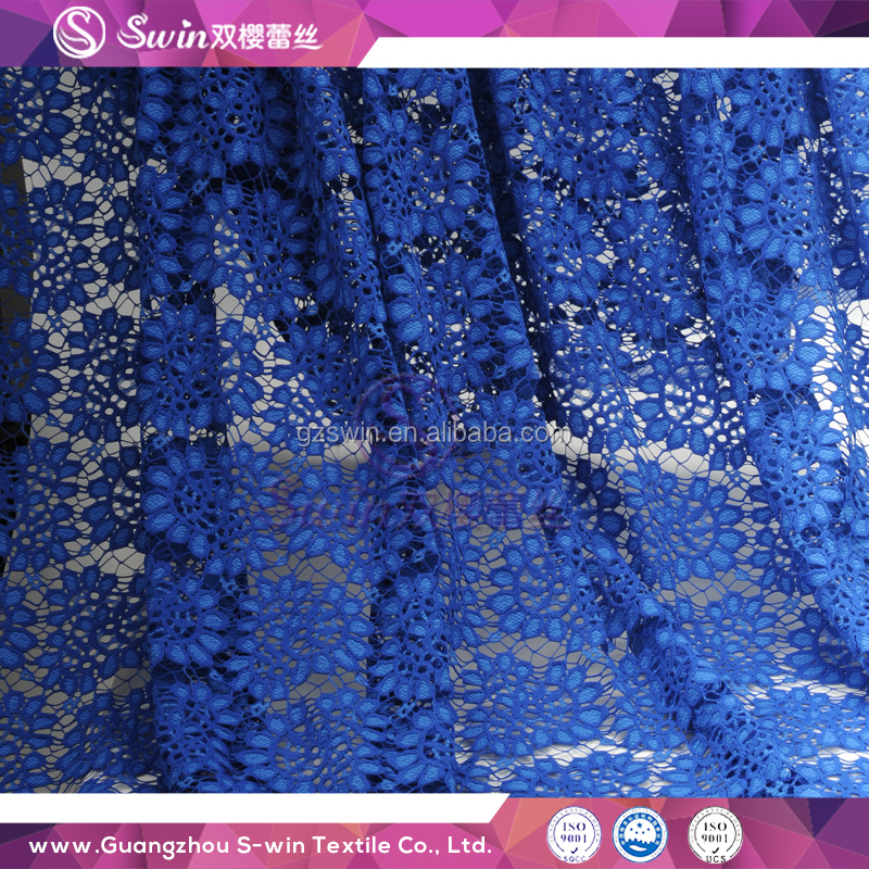 Fancy Design Flower Favorite Style Cheap Dry Lace Fabric african royal blue lace for Dancing Party
