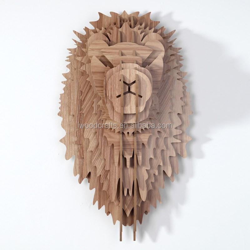Guangzhou art and crafts diy gift wood lion head art mind for Art minds wood crafts