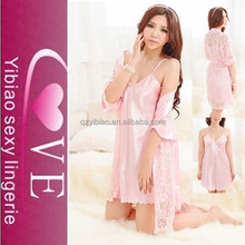 Mature Women Attractive Two Pieces Satin Pajamas Dress <strong>Sexy</strong> Babydoll <strong>Underwear</strong>