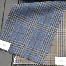Windowpane Plaid Fabric brown yellow blue polyester wool fabric for men's suit jacket