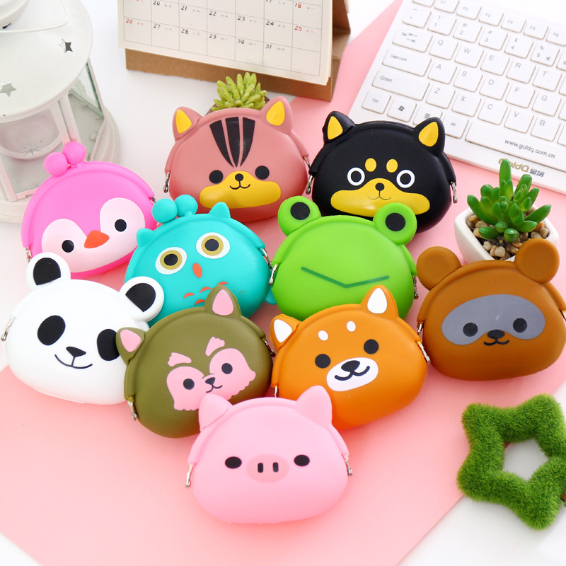 X61292A Women Kawaii Animals Cartoon Silicone Coin Purse Key kids Girls Wallet