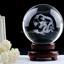 2015 Glass crystal ball spheresl with 3D laser dragon