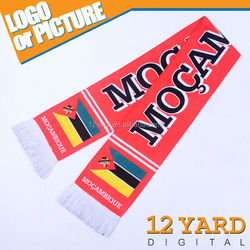 Custom Africa style printed Mozambique Flag and badge Muffler Acrylic Knitted Double-sided Winter Soccer Scarf/Muffler
