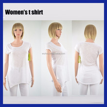 Women's white casual bamboo 100% polyester curve bottom round neck t shirt