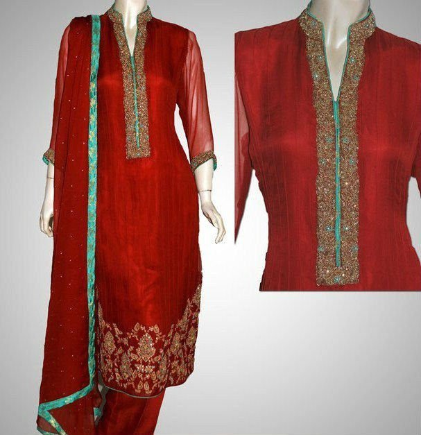 EMBROIDED SHIRT WITH TROUSER IN RED COLOR