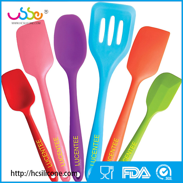 USSE 6-Piece Silicone Cooking Set - 2 Spoons, 2 Turners, 1 Spoonula / Spatula & 1 Ladle - Heat Resistant Kitchen Utensils (