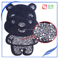 Hotfix Rhinestones Panda Bear Motif Iron On Transfer Motifs Crystal Stone Applique Patches For T-Shirt Carfts Clothing