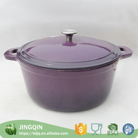 2015 very popular purple enamel pot with two handles and stainless steel pot top