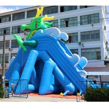 Wahoo Hippo slide blue children/adults green dragon double-curve lane water slide inflatable slide